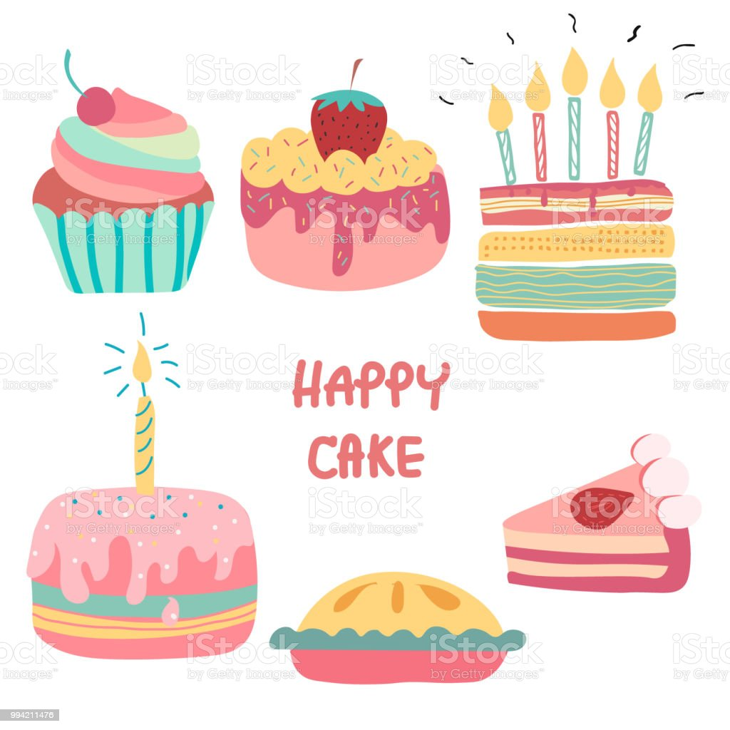 Excellent Doodle Hand Drawn Rainbow Cute Birthday Cake Stock Illustration Funny Birthday Cards Online Aboleapandamsfinfo
