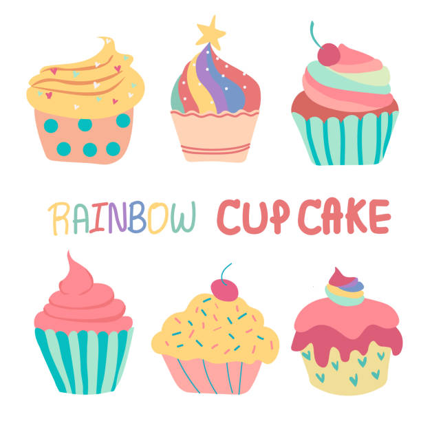 doodle hand drawn rainbow cute cup cake - cupcake stock illustrations, clip art, cartoons, & icons