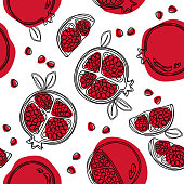 Garnet fruit hand drawn seamless pattern. Vector illustration.