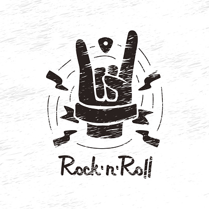 doodle hand on rock and roll
