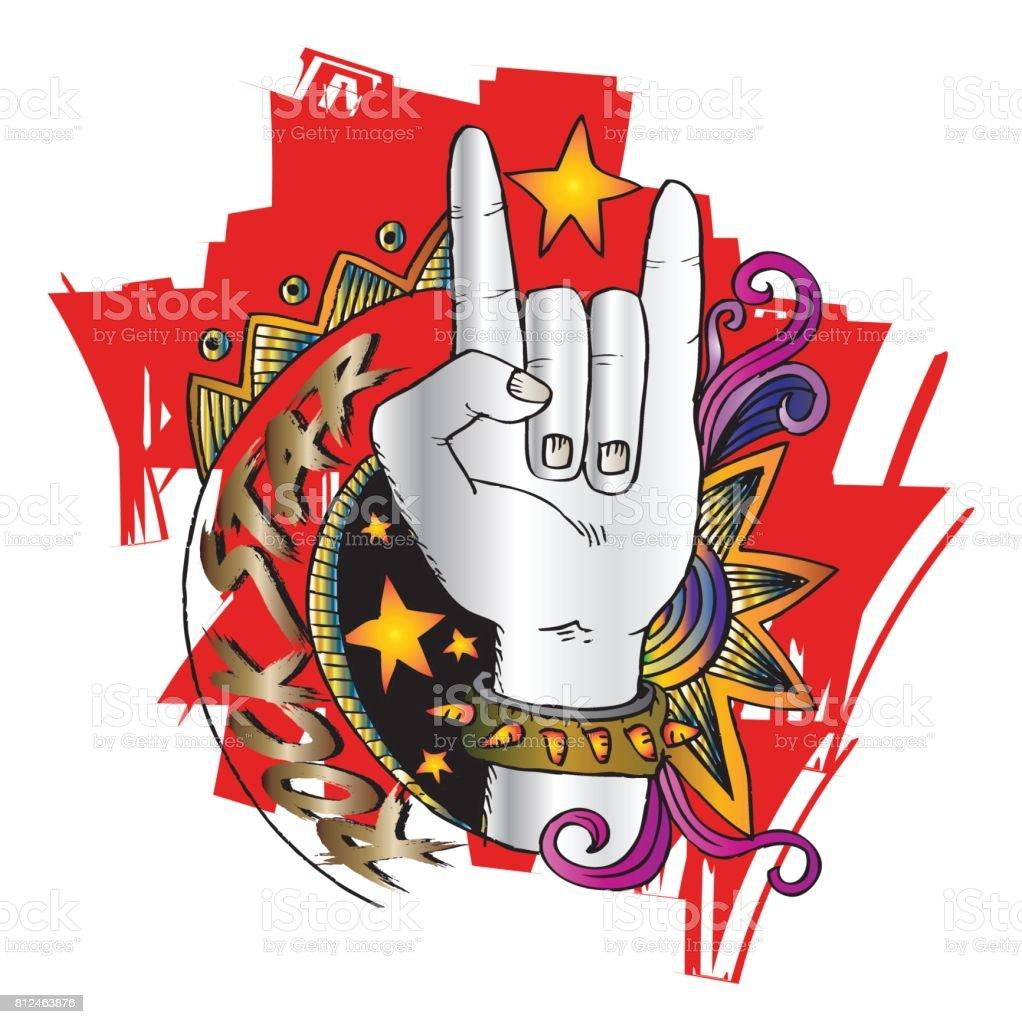 Doodle Hand Sign Rock N Roll Music Stock Illustration
