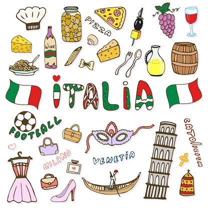 Doodle hand sketch collection of Italy icons. Italy culture elements for design. Vector color sketches travel set. Handwriting Italia lettering in italian language - Italy
