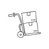 istock Doodle handcart icon in vector. Hand drawn handcart icon in vector. Illustration of doodle handcart. Logistic icon in vector 1290157659