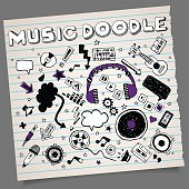 Doodle hand-drawn music symbols with alphabet