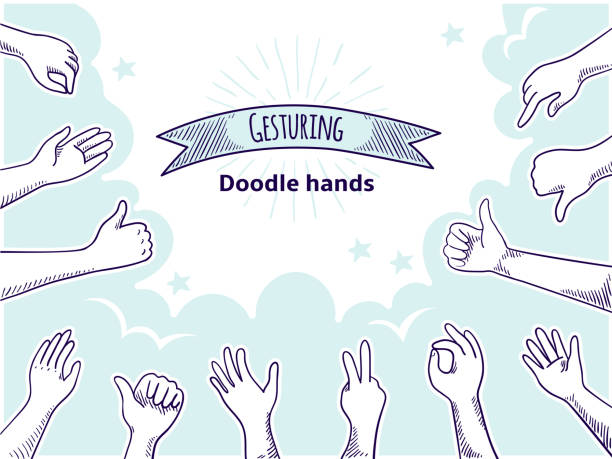 doodle hands like dislike. happy client hand drawn concept, thumb up and disagree business sketch. vector customer opinion set - naśladownictwo stock illustrations