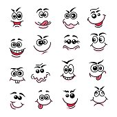 Doodle happy faces. Hand drawn line emoticons and funny facecs. Vector illustration