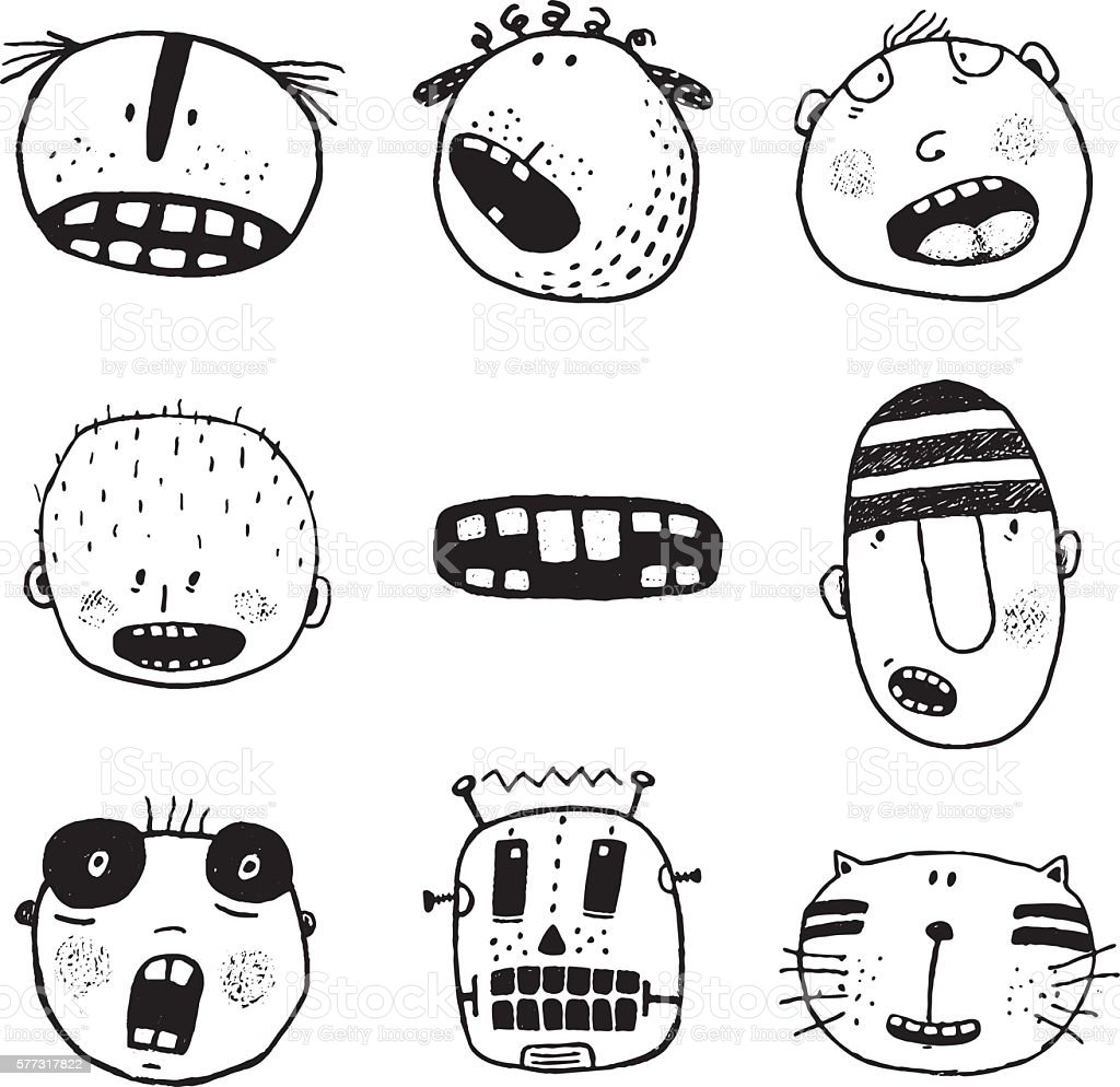 Doodle Heads And Outline Cartoon Monster Face Emotions Collection Royalty Free