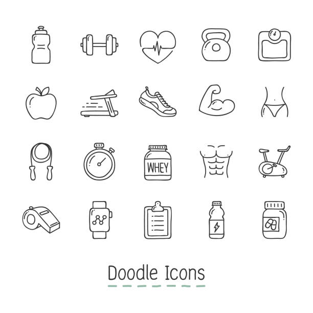 Doodle Health And Fitness Icons. Hand Drawn Icon Set. exercise machine stock illustrations