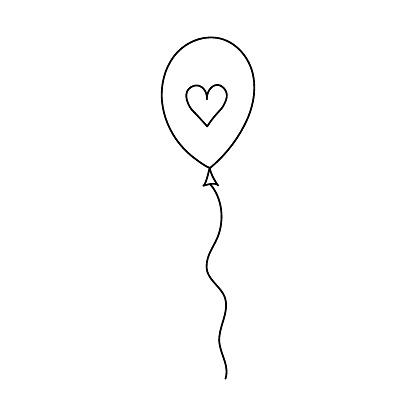 Doodle heart balloon vector