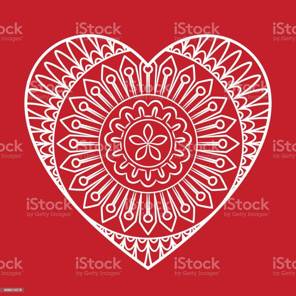 Doodle corazón tarjeta - ilustración de arte vectorial