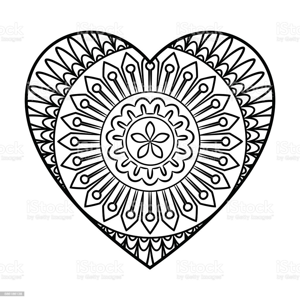 doodle heart mandala stock vector art more images of black color