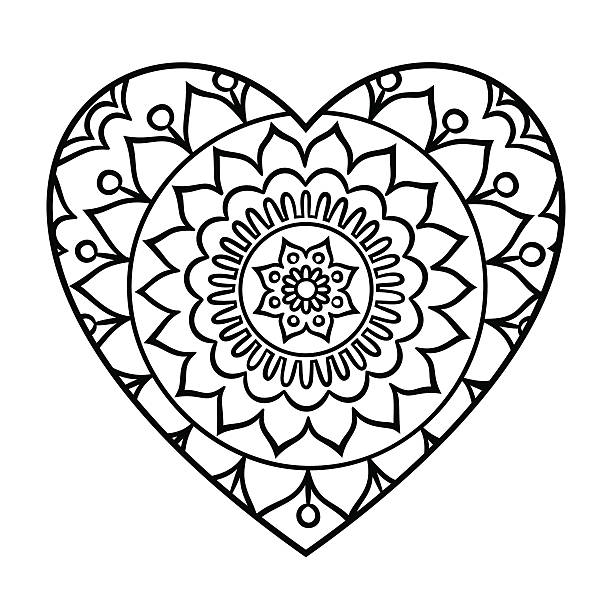 doodle heart mandala - coloring book pages templates stock illustrations