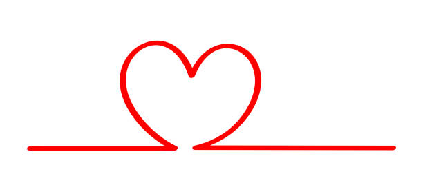 stockillustraties, clipart, cartoons en iconen met doodle hartvorm in een lijn rood die op witte, rode hartvorm op een lijnstrookrij wordt geïsoleerd, de schetsborst van de hartvormkunstlijn voor valentijn, hartteken met hand die voor de liefdeskaart van het elementbruiloft wordt getrokken - stickers met relief