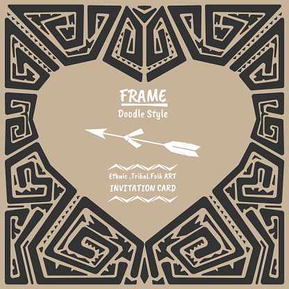 Doodle heart vector tribal ethnic style frame