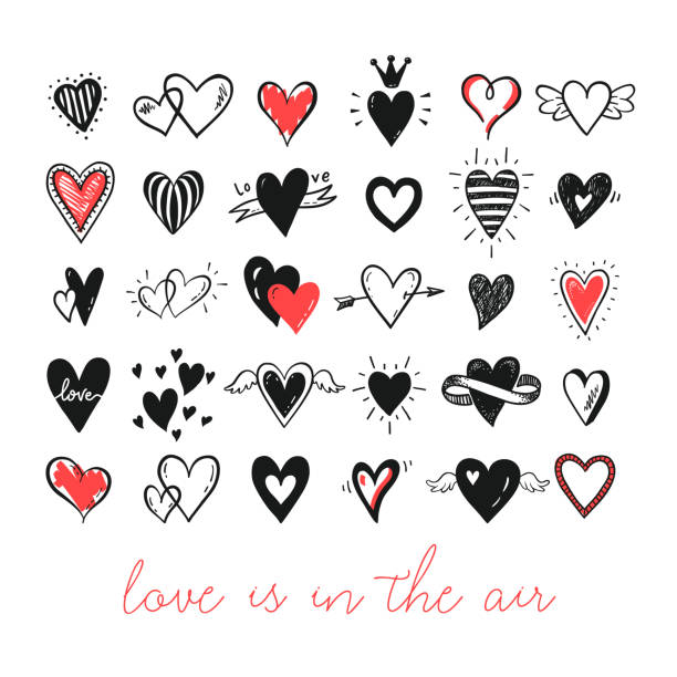 Doodle hearts collection Vector set of hand drawn doodle cartoon hearts. Valentines day, love, wedding card design. valentine card stock illustrations