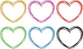 Doodle hearts in six colors illustration