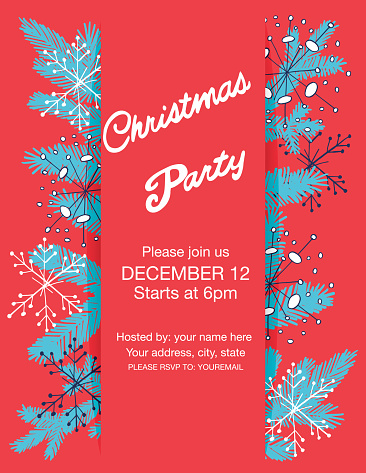 Doodle Holiday Evergreens Holiday Party Template