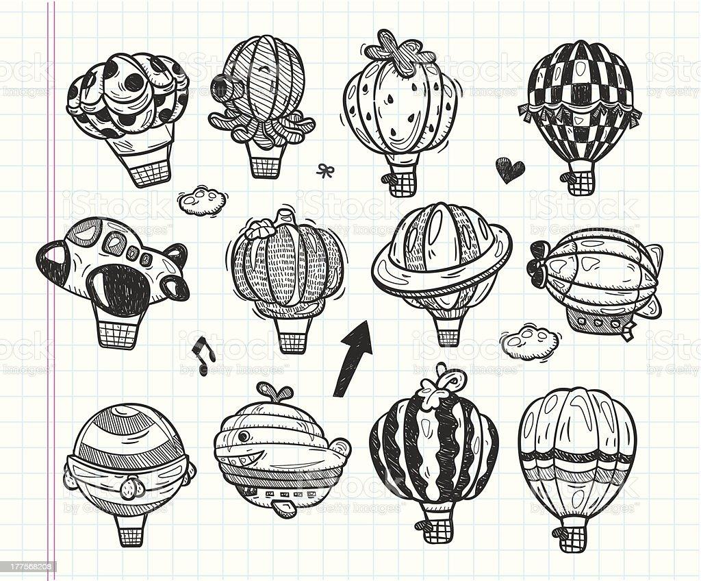 doodle hot air balloon icon royalty-free stock vector art