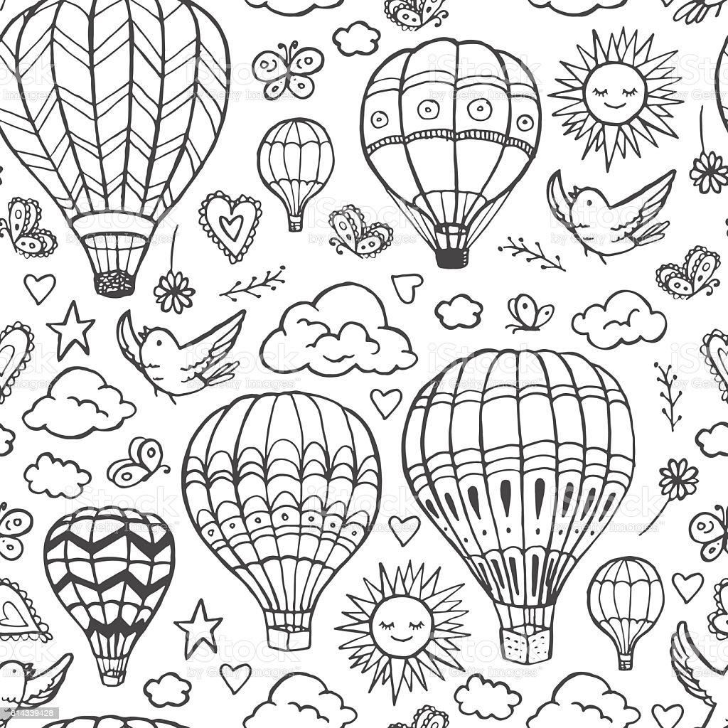 Doodle Hot Air Balloons Pattern Stock Vector Art & More Images of ...