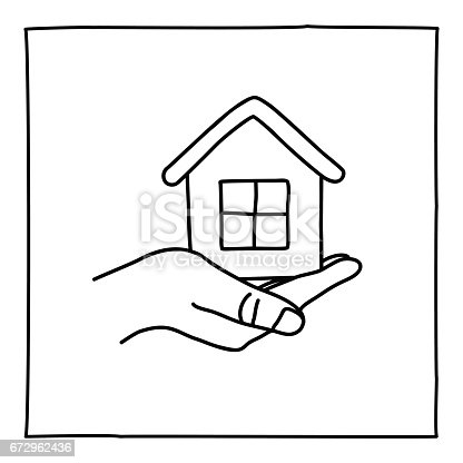 Doodle house on a hand icon. Black white symbol with frame. Line art graphic design element. Web button. House care, selling house, investment, mortgage assistance concept. Vector illustration