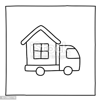 Doodle house on truck icon. Black white symbol with frame. Line art style graphic design element. Web button. Moving to new house, movers service, rent truck, loading van concept. Vector illustration