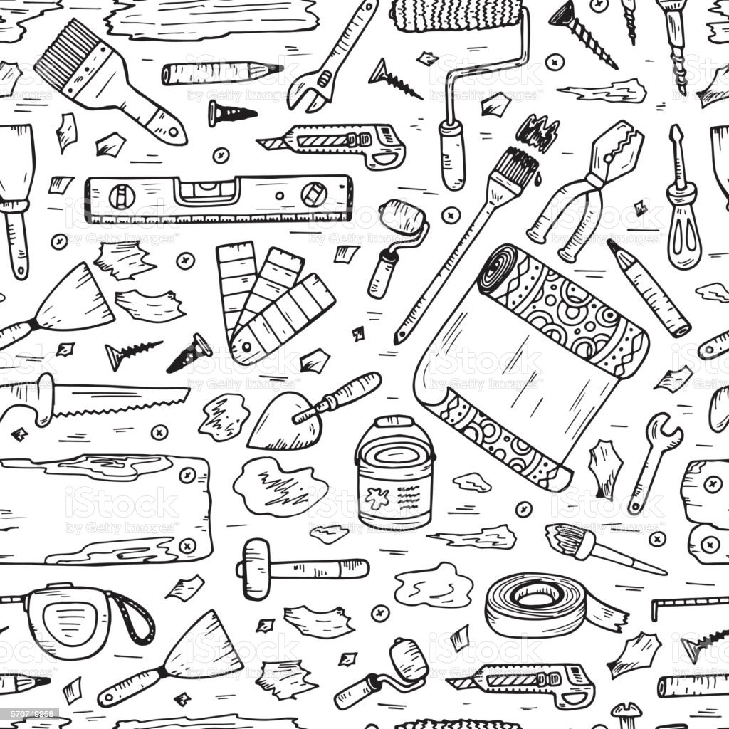 Doodle House repair Tools. Home improvement Seamless pattern. Housework. royalty-free doodle