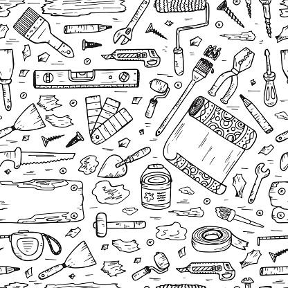 Doodle House repair Tools. Home improvement Seamless pattern. Housework.
