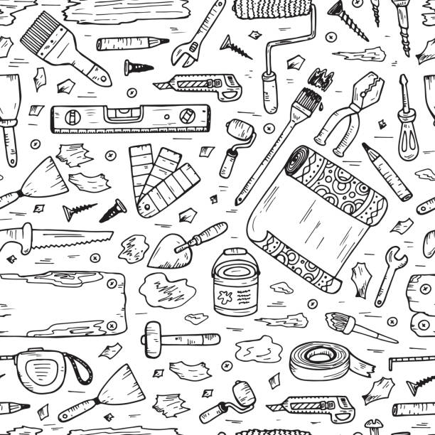 Doodle House repair Tools. Home improvement Seamless pattern. Housework. House repair tools vector set. Home improvement icons. Hand Drawn Doodle Tools. Housework. diy stock illustrations