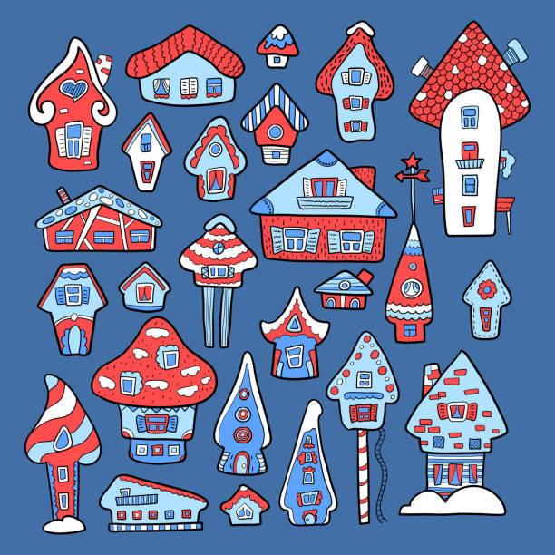 doodle haus vektor-illustration. rot blau winter saisonalen druck. kinder-kindergarten-plakat. adventskalender-vorlage - adventskalender tür stock-grafiken, -clipart, -cartoons und -symbole