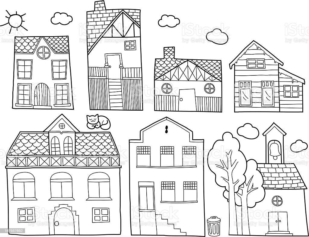 doodle houses vector art illustration