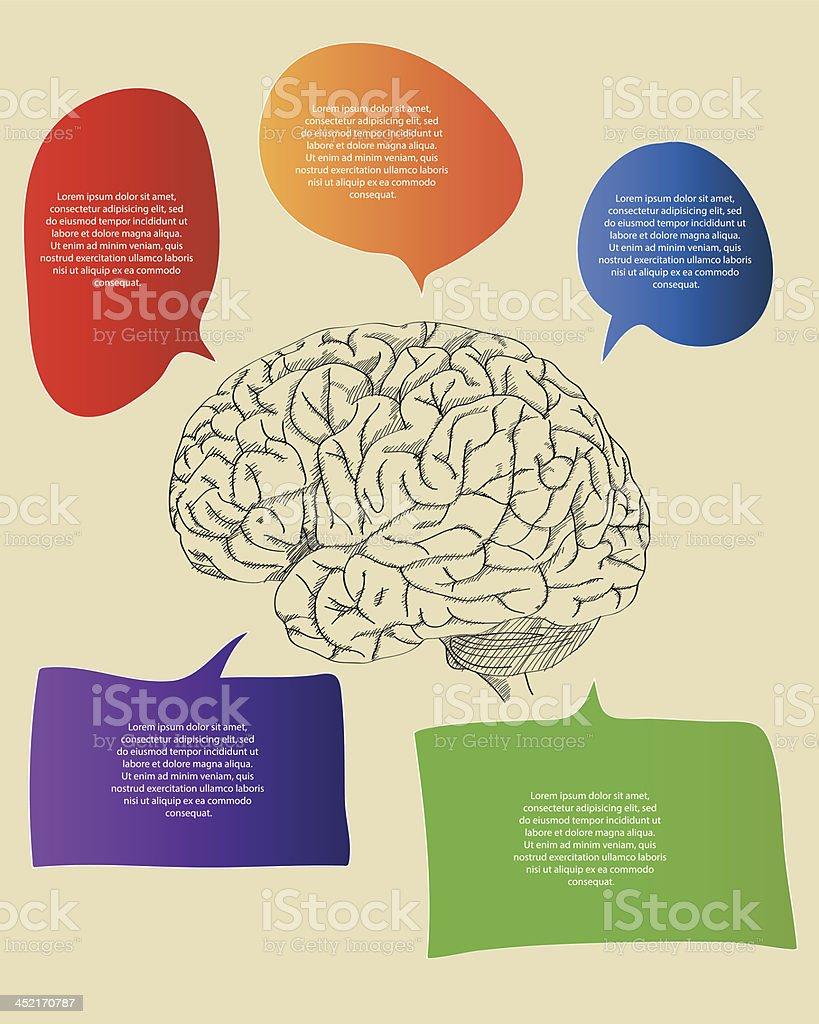 Ilustración de Garabato Cerebro Humano Con Infografía Diagrama y más ...