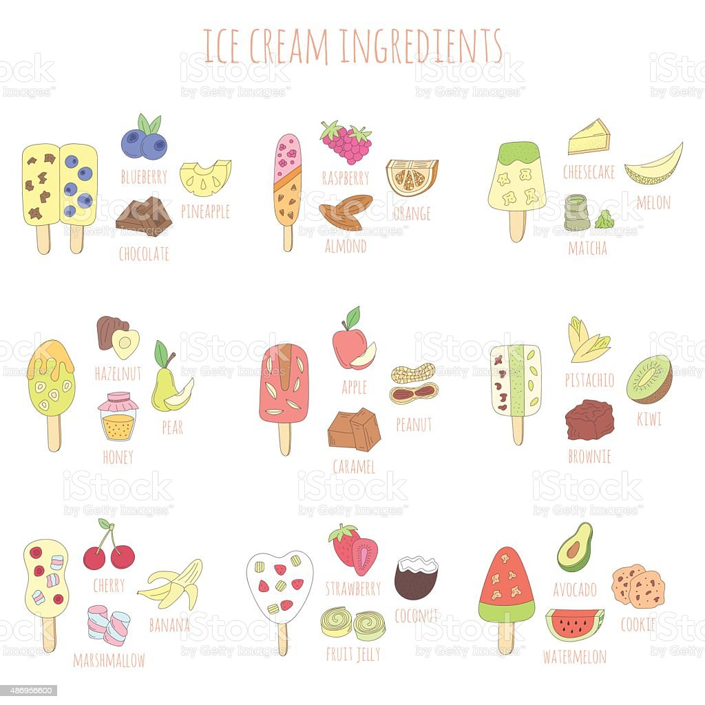 doodle ice cram and ingredients vector art illustration
