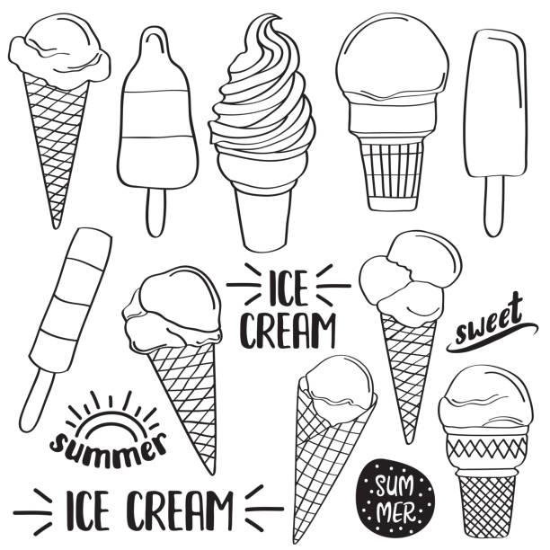 ilustraciones, imágenes clip art, dibujos animados e iconos de stock de doodle colección helado aislado en blanco y negro para colorear - ice cream cone