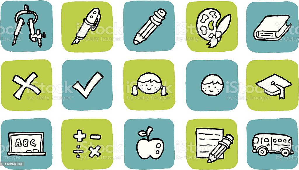 Doodle Icon Set - Education royalty-free stock vector art