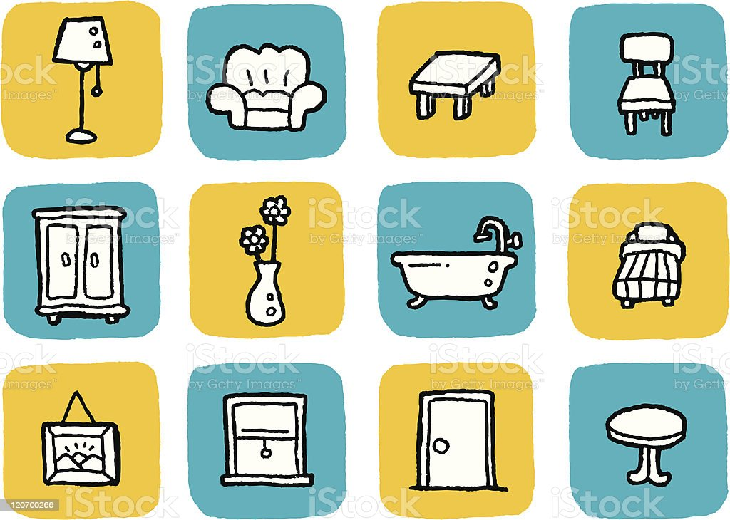 Doodle Icon Set - Furniture royalty-free stock vector art