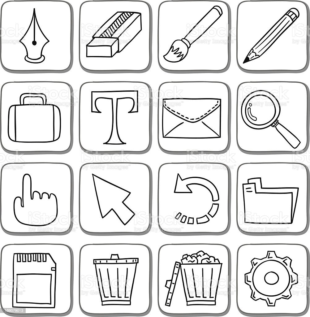 Doodle icon set in black and white royalty-free stock vector art