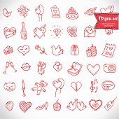 Doodle icon set isolated drawn in red on white paper