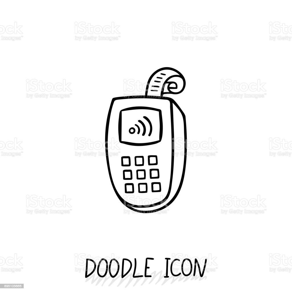 Doodle icon with credit card payment. vector art illustration