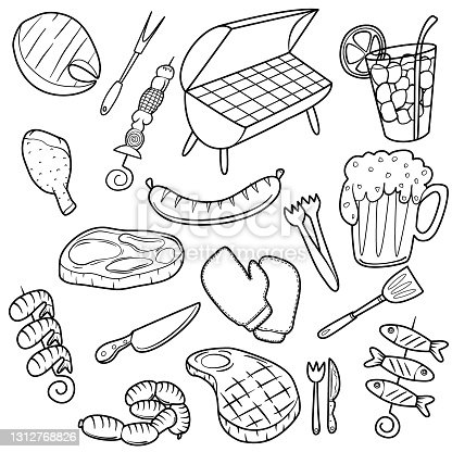istock BBQ, Doodle Icons. Barbecue Day Doodle Icons Clipart Scrapbook. Hand Drawn Line Art Coloring Decoration Sketch 1312768826
