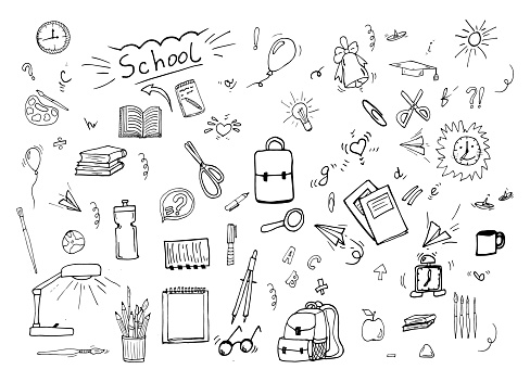 Doodle icons set. Business subjects and schools. Back to school with hand drawn school supplies - big set. Doodle and school items collection. Education concept. Vector illustration.