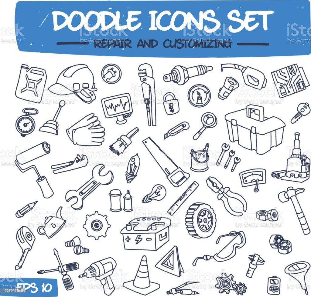 Doodle Icons Set - Repair and Customizing vector art illustration
