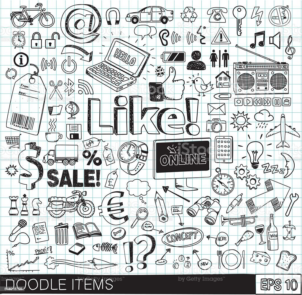 Doodle icons vector art illustration