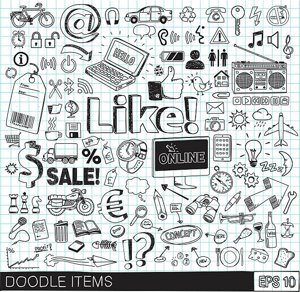 doodle значки - doodles stock illustrations