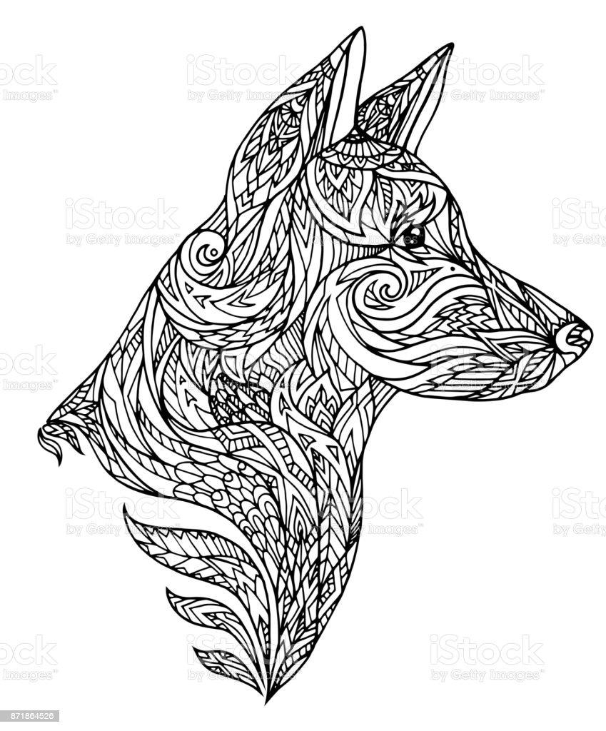 Ilustración De Ilustración De Una Cabeza De Perro Con Forma De
