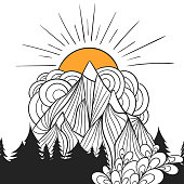 Outdoor tourism art. Camping emblem for coloring. Easy to change colors.