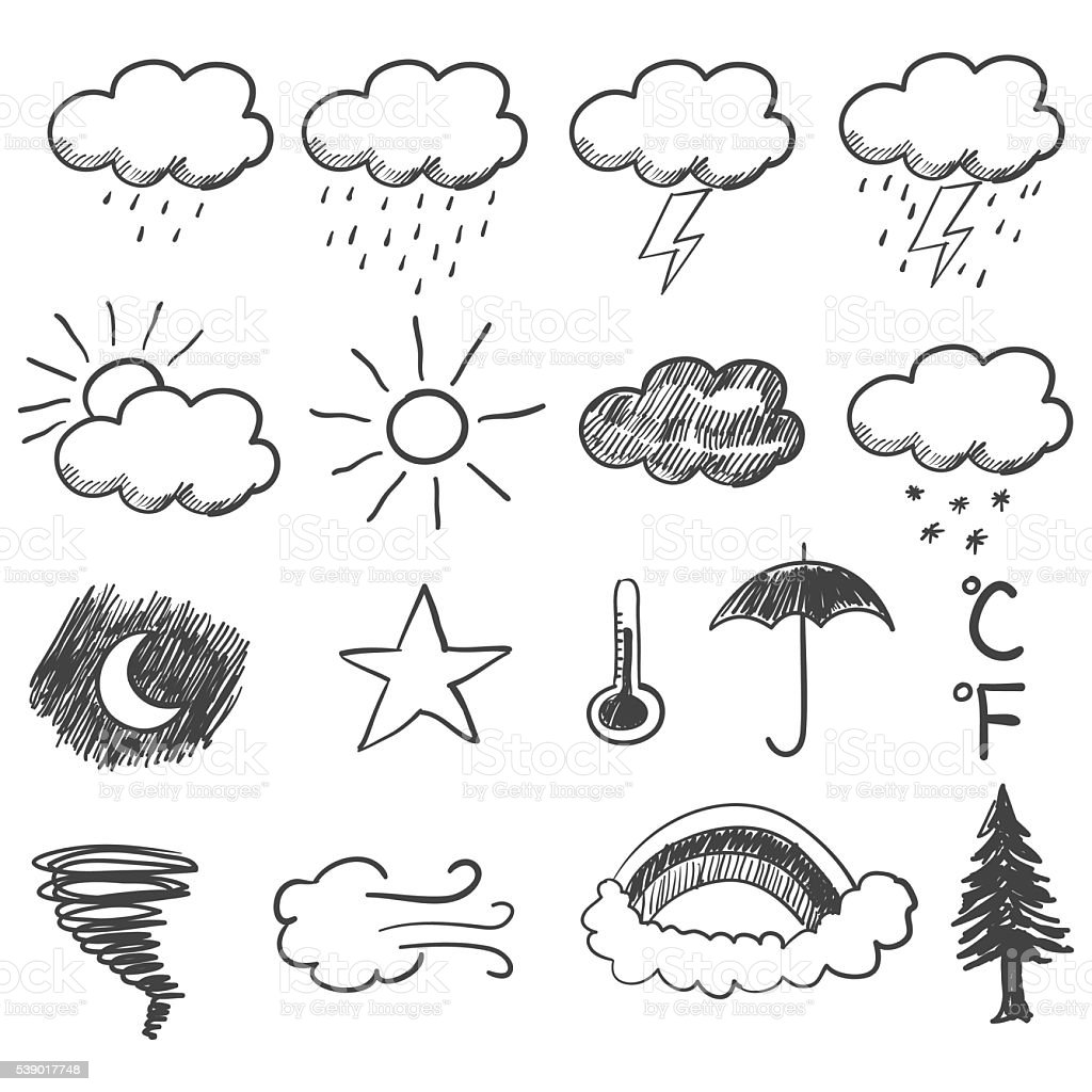 Doodle Illustration Of Weather Icons vector art illustration
