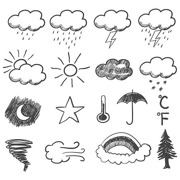 stockillustraties, clipart, cartoons en iconen met doodle illustration of weather icons - regen zon