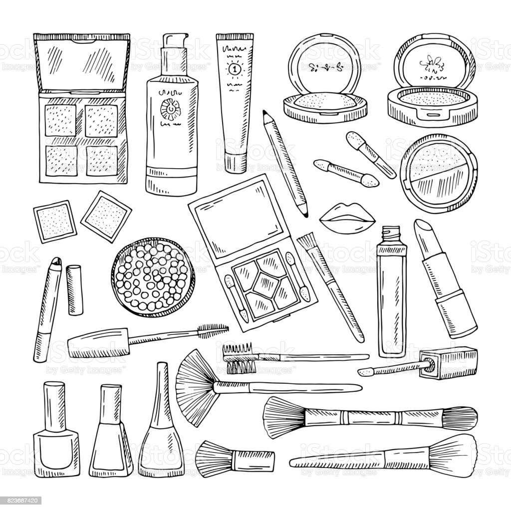 doodle illustrations of woman cosmetics makeup tools for