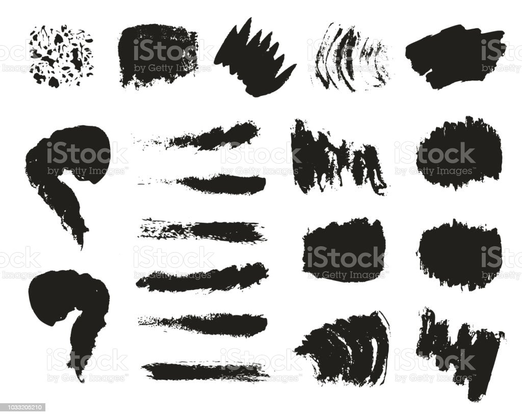 Doodle ink spots, dots, blots. Vector. Isolated. Brush texture.