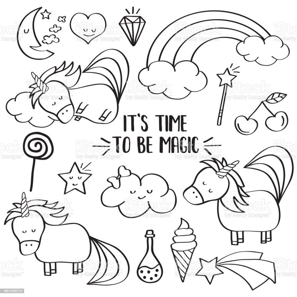 Ilustración De Doodle Colección Items Con Unicornios Y Otros